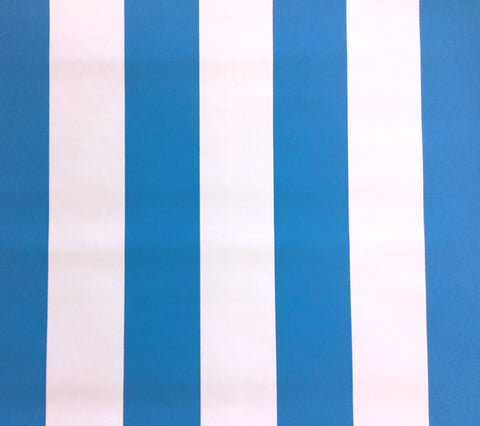 China Seas Wallpaper: Sand Bar Stripe - Custom Rocky Mountain Sky Blue on White Paper