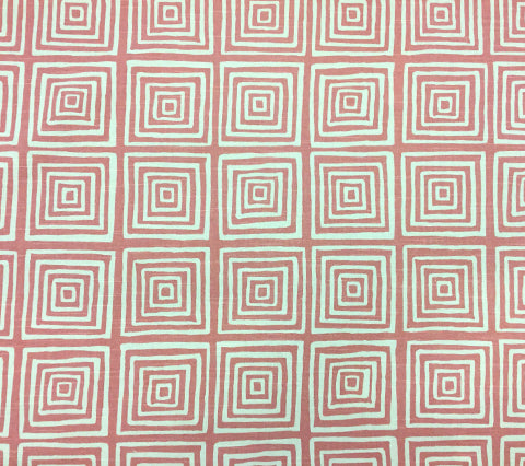 China Seas Fabric: Ziggurat Reverse - Custom Coral on Tinted 100% Cotton Slub Duck