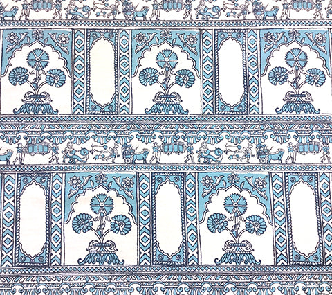 China Seas: Sultan II - Custom Turquoise / Navy on White Belgian Linen/Cotton