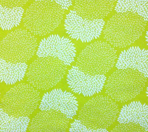 China Seas Fabric: New Chrysanthemum Reverse - Custom Chartreuse on 100% Silk