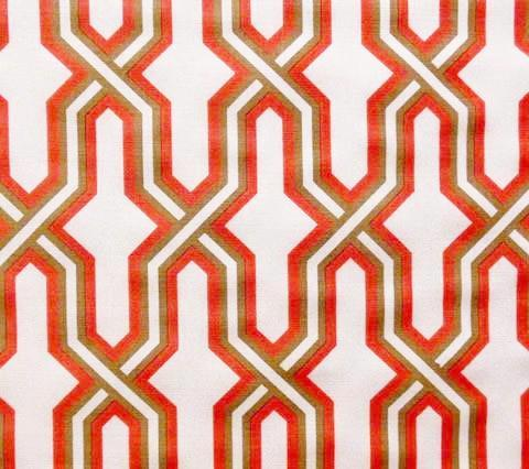 China Seas Fabric Gorrivan Fretwork Custom Peach Coral Taupe geometric print on Tinted Belgian Linen Cotton
