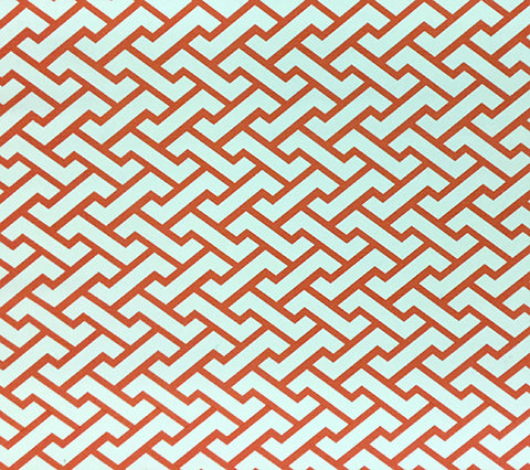 China Seas Fabric: Aga - Custom Orange geometric print on Tinted Belgian Linen/Cotton