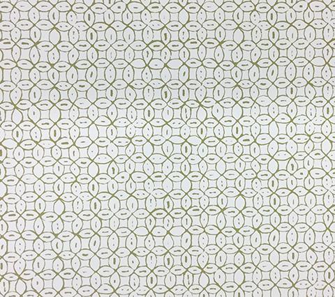 China Seas Wallpaper: Melong Batik - Custom Sage Green on White Paper