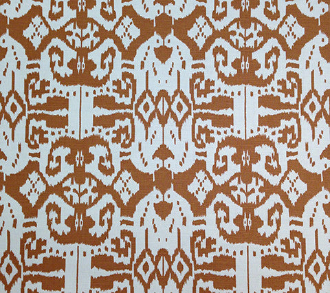 China Seas Fabric Island Ikat Custom Light Camel batik print on White Belgian Linen Cotton