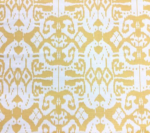 China Seas Fabric: Island Ikat - Custom Yellow on White Belgian Linen/Cotton
