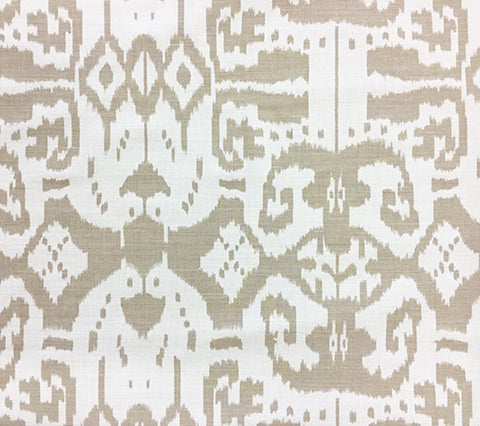 China Seas Fabric: Island Ikat - Custom Dark Greige on White Belgian Linen/Cotton