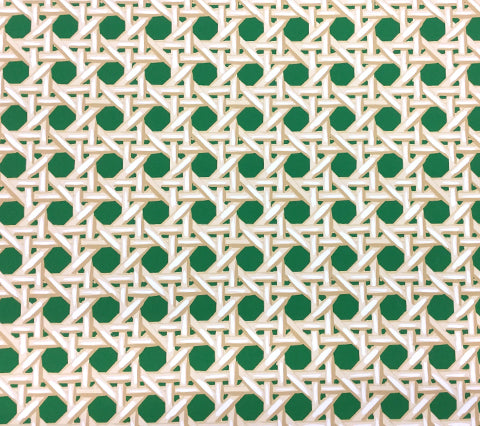 China Seas Wallpaper: Club Cane - Custom Clover Green / Taupe on White Paper