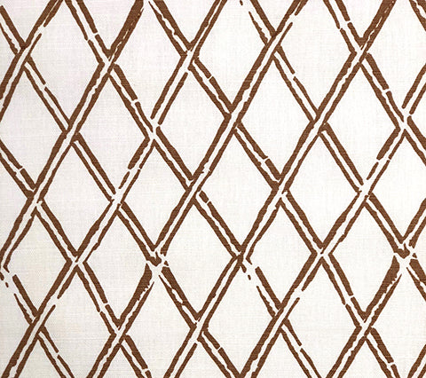China Seas Fabric: Lyford Diamond Bamboo - Custom Camel on Light-Tint Belgian Linen/Cotton