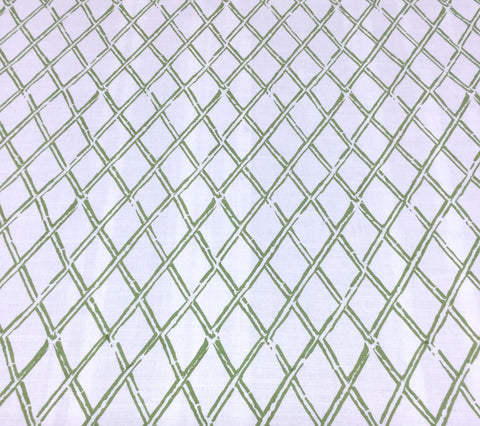 China Seas Fabric: Lyford Diamond Bamboo - Custom Jungle Green on White Belgian Linen/Cotton