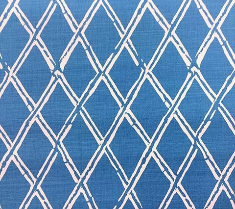 China Seas Fabric: Lyford Diamond Bamboo - Custom White on Blue Belgian Linen/Cotton