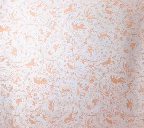 China Seas Fabric: Cirebon - Custom Apricot on White 100% Belgian Linen