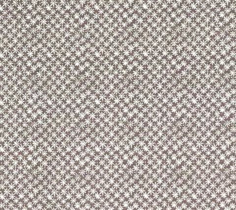 China Seas Fabric: New Balinese Star - Custom Brown on White 100% Belgian Linen DETAIL