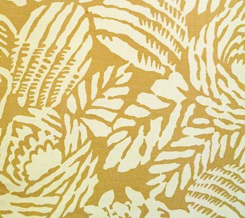 China Seas Fabric: Macambo - Custom Gold / Beige tropical palm print on Tinted Belgian Linen/Cotton