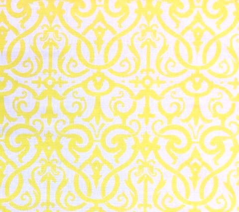 Quadrille Prints: Charleston II - Custom Yellow damask print on Bright White Belgian Linen/Cotton