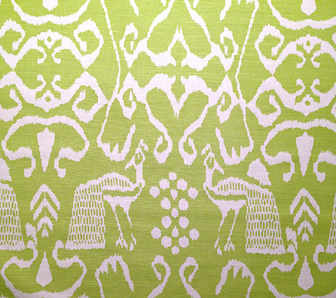 China Seas Fabric: Bali II - Custom Chartreuse on Tinted Linen/Cotton