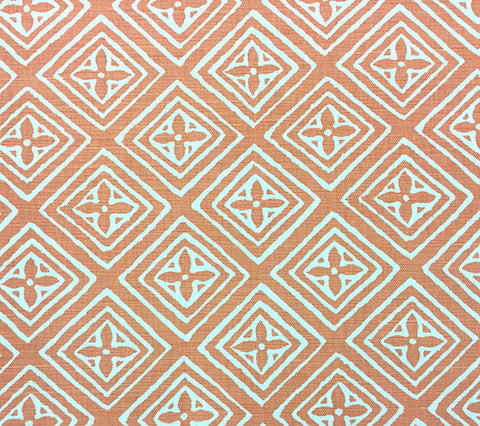 China Seas Fabric: Fiorentina - Custom Terracotta on White Belgian Linen/Cotton