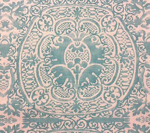 Quadrille Prints: Veneto - Custom Venice Blue on White 100% Belgian Linen