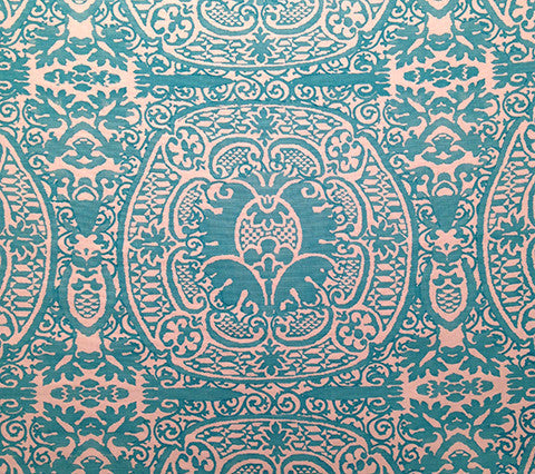 Quadrille Prints: Veneto - Custom Dark Turquoise on White