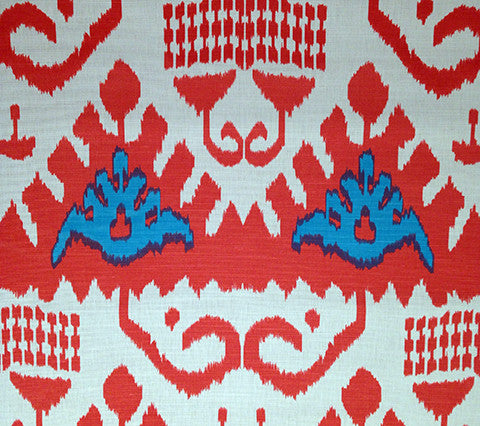 Quadrille Prints: Kazak - Custom Orange / Turquoise on Tint