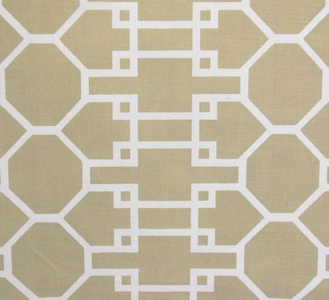 Quadrille Prints: Brighton Reverse - Custom Taupe large scale trellis print on Tinted Belgian Linen/Cotton