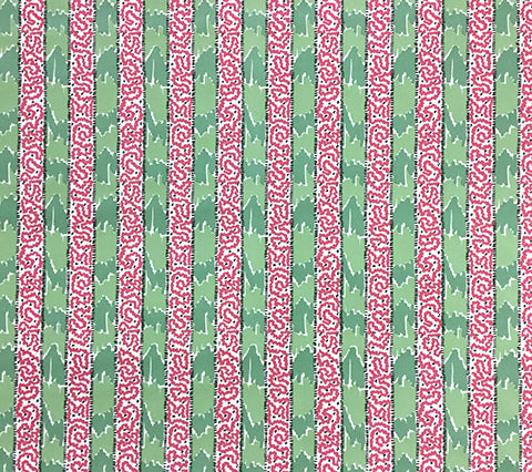 China Seas Fabric: Bijou Stripe - Custom Pink / Green batik stripe print on Tinted Belgian Linen/Cotton