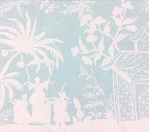 China Seas Fabric: Lyford Background - Custom Aqua chinoiserie print with pagodas on White 100% Belgian Linen