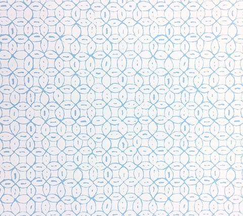 China Seas Wallpaper: Melong Batik - Custom Sky Blue on Almost White Paper