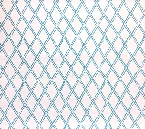 China Seas Fabric: Lyford Diamond Bamboo - Custom Aqua on White Suncloth (Outdoor Quality)