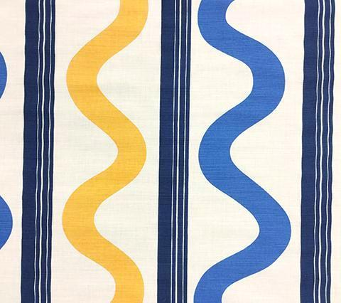 China Seas Fabric: Tete a Tete Vertical - Custom Navy / Blue / Yellow on Tinted Belgian Linen/Cotton