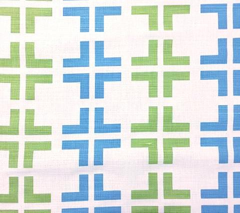 China Seas Fabric Frowick Large Scale Custom Turquoise and Lime Green geometric print on White Belgian Linen Cotton