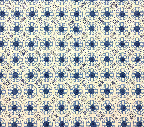 China Seas Fabric: Kediri Batik - Custom Blues on Tinted Belgian Linen/Cotton