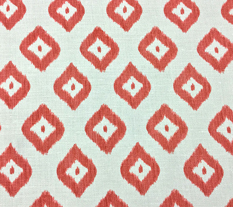 China Seas Fabric: Bali Diamond - Custom Multi Corals on Oyster Belgian Linen/Cotton