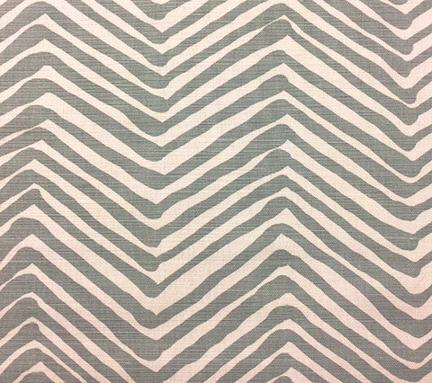 Alan Campbell Fabric: Zig Zag - Custom Windsor Blue on White Belgian Linen/Cotton