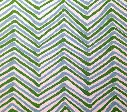 Alan Campbell Fabric: Zig Zag Multicolor - Custom New Jungle / Blue on White Suncloth