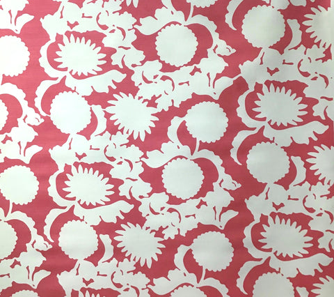 China Seas Fabric: Flora Background - Custom Magenta on Tinted Belgian Linen/Cotton