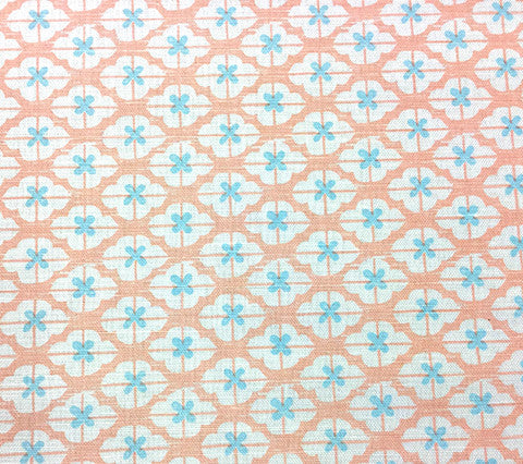 China Seas Fabric: Kyoto Two Color - Custom Powderpuff Pink / Water Blue on White Belgian Linen/Cotton