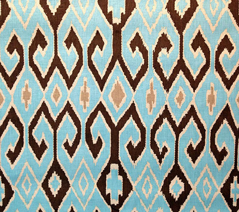 China Seas Fabric: Aquarius for Clothing - Turquoise / Brown / Cream on 100% Belgian Linen