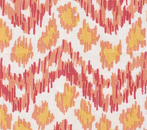 China Seas Fabric: Zizi Horizontal - Custom Terracotta / Orange / Yellow on White 100% Belgian Linen
