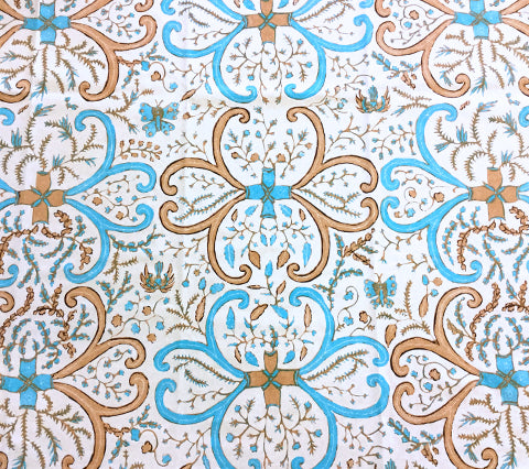 China Seas Fabric: Salong Batik - Custom Multi Turquoise / Gold / Beige on Tinted 100% Belgian Cotton Sateen