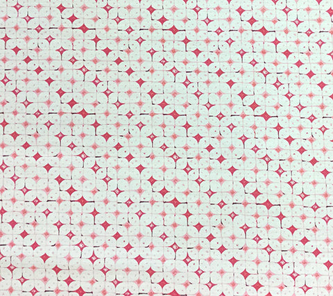 China Seas Fabric: Sunnyjim Geometric - Custom Multi Pinks on Light Tint Belgian Linen/Cotton