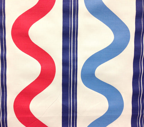 China Seas Fabric: Tete a Tete Vertical - Custom Navy / Red / French Blue on Belgian Linen/Cotton