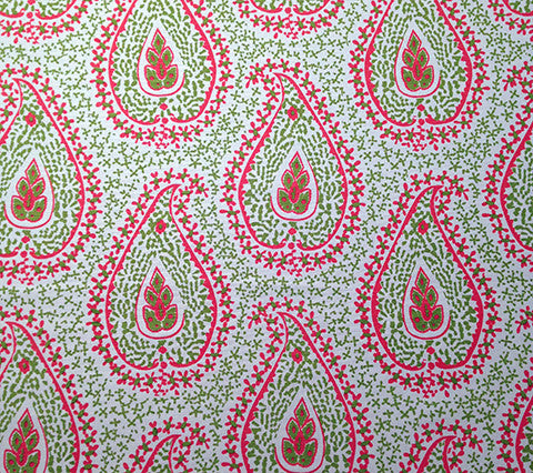Quadrille Prints: Katmandu - Custom Melon / Green on White
