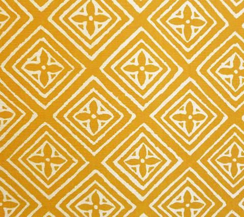 China Seas Fabric: Fiorentina - Custom Gold Maize yellow geometric diamond print on Tinted 100% Belgian Linen