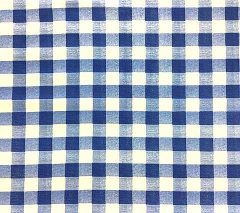 Quadrille Prints: Hingham Plaid - Custom Cobalt blue print on White 100% Belgian Cotton Sateen