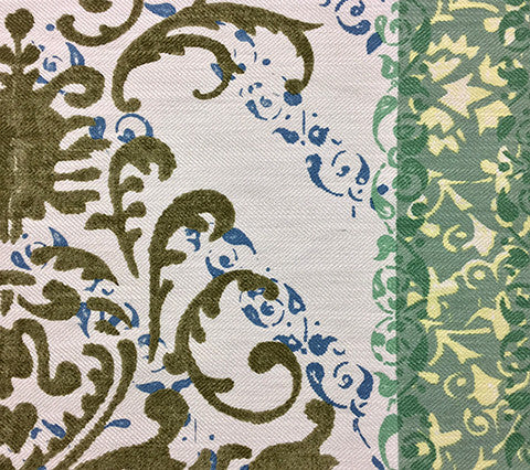 Quadrille Prints: Tropical Damask - Custom Dark Blue / Green on Westover (100% Belgian Basketweave Linen)