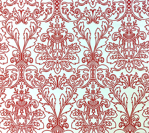 Quadrille Prints: Monty Outline - Custom Red damask floral print on Custom Optic White Belgian Linen/Cotton