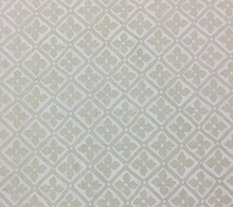 Quadrille Prints: Puccini - Custom White on Ecru Taj 100% Linen