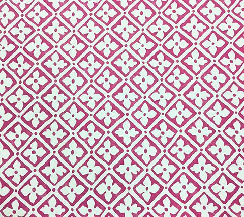 Quadrille Wallpaper: Puccini - Custom Pink on Almost White Paper