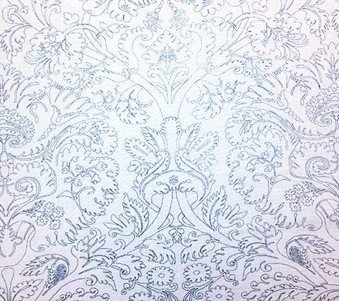 Quadrille Prints: Borghese Outline - Custom Navy on White Belgian Linen/Cotton