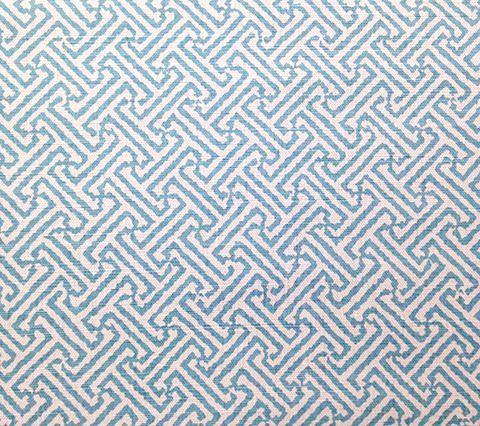 China Seas Fabric Java Java Custom Aqua ikat batik geometric print on White Belgian Linen/Cotton
